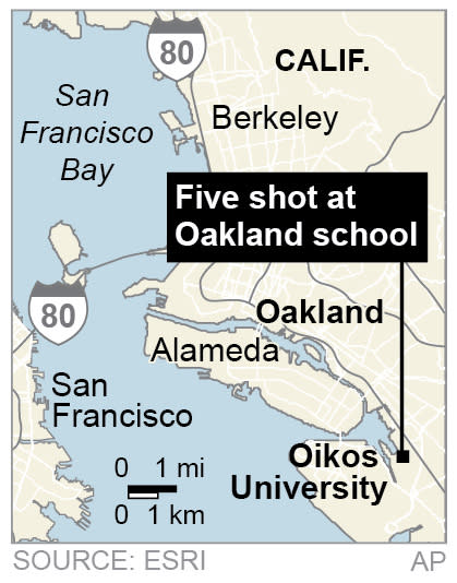 Map locates Oikos University in Oakland California, where five people are shot.