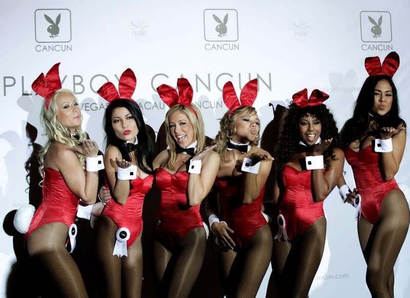 FILE PHOTO: Playboy bunnies pose during the opening ceremony of the Playboy Cancun casino