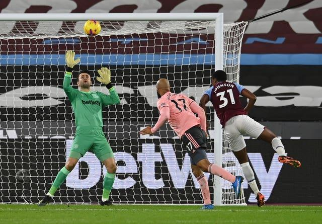 West Ham goalkeeper Lukasz Fabianski saves an effort from David McGoldrick