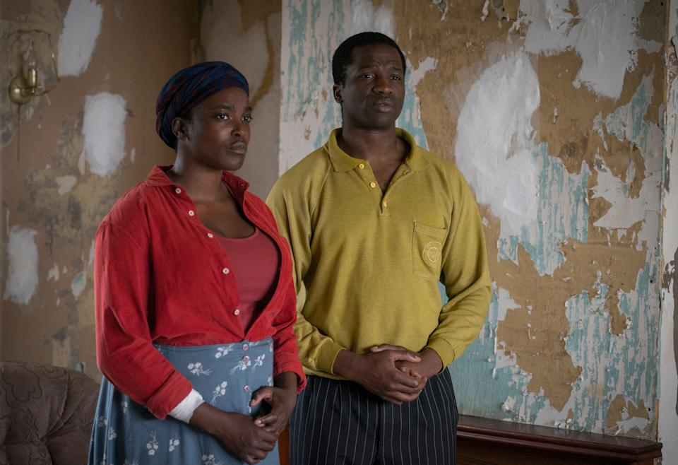 His House: Wunmi Mosaku as Rial Majur and Sope Dirisu as Bol Majur (Photo: Aidan Monaghan/NETFLIX)