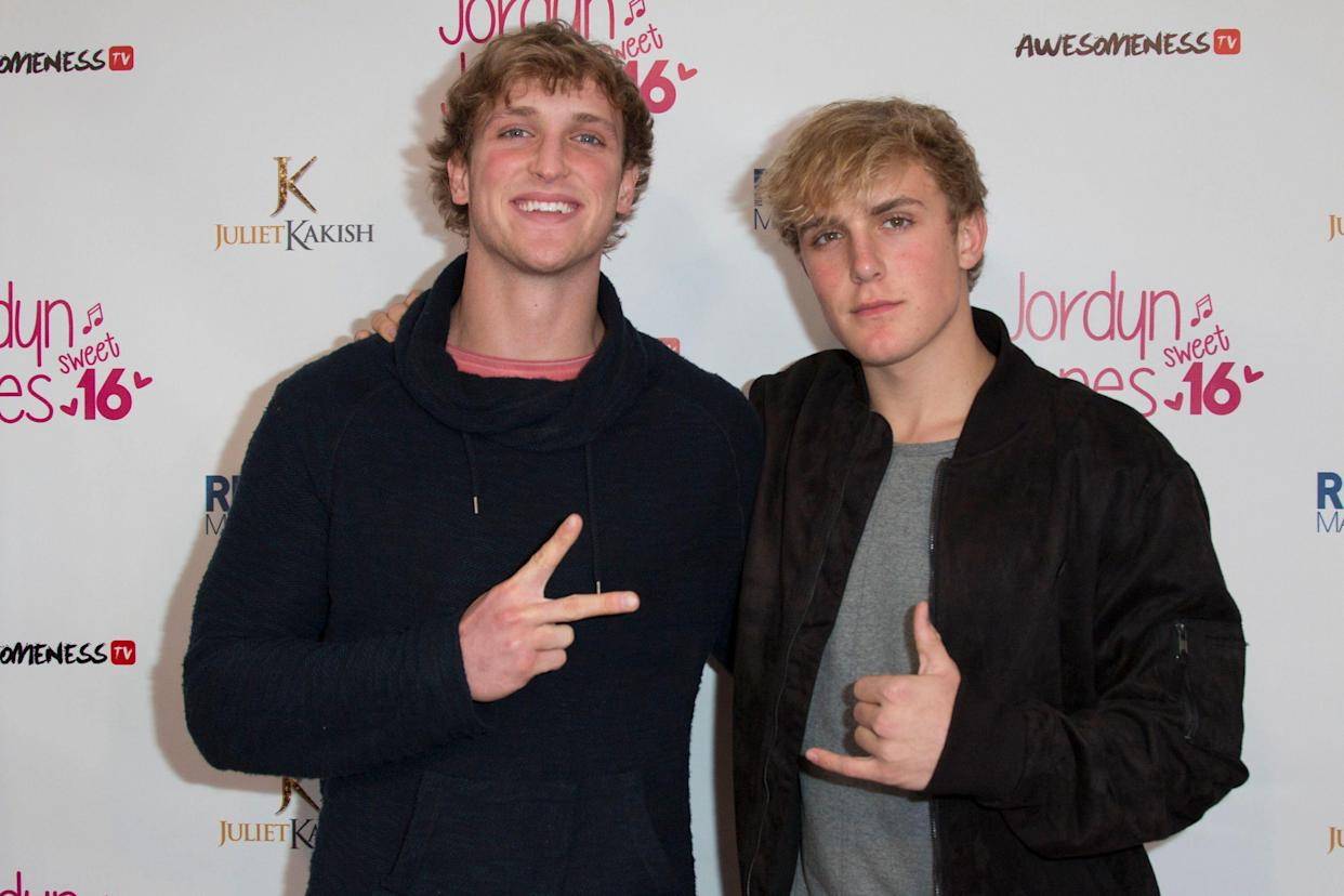 Vine stars Logan Paul, left, and Jake Paul at Jordyn Jones's Sweet 16 party in Hollywood. (Photo: Tasia Wells/Getty Images)