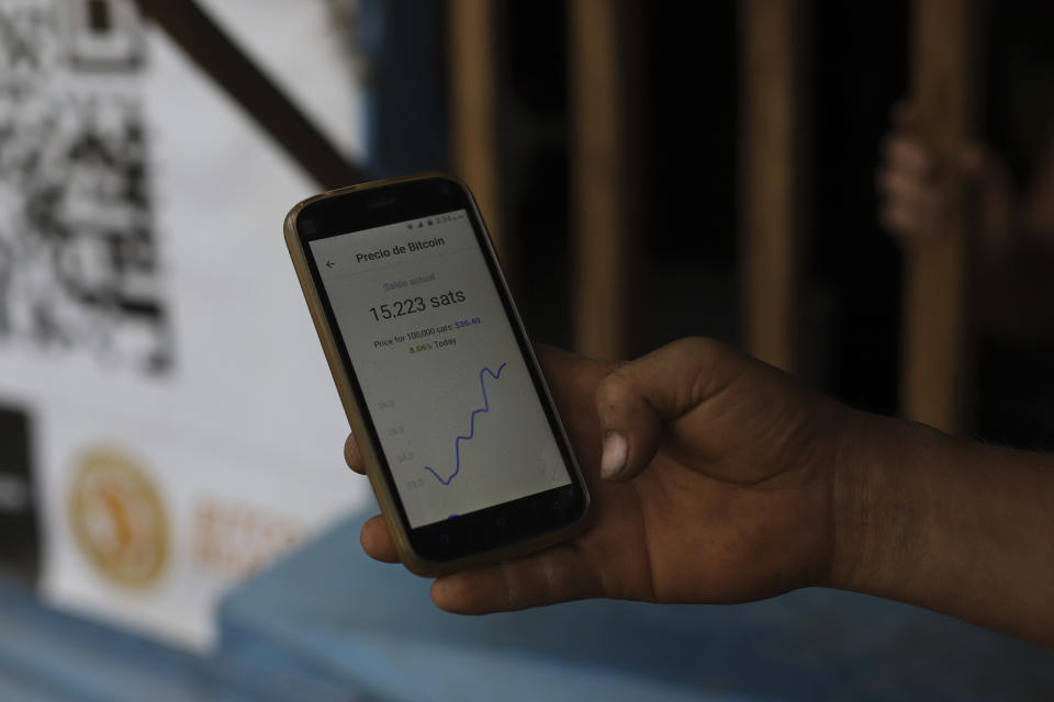 A worker at Hope House, an organization that sponsors the use of cryptocurrencies in El Zonte beach, makes a purchase at a small store that accepts Bitcoin, in Tamanique, El Salvador, Wednesday, June 9, 2021. El Salvador's Legislative Assembly has approved legislation making the cryptocurrency Bitcoin legal tender in the country, the first nation to do so, just days after President Nayib Bukele made the proposal at a Bitcoin conference. (AP Photo/Salvador Melendez)