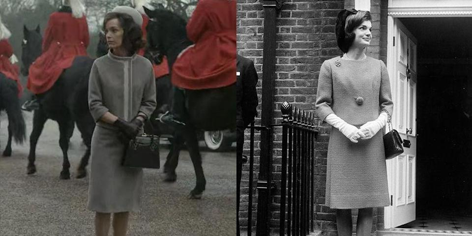 <p>In season 2, the Queen <del>summons</del> invites Jackie Kennedy to lunch at Windsor Castle. For the show, the First Lady wore in a gray suit set and a pillbox cap, which seemed to have been inspired by a real outfit Jackie wore to visit the Queen for lunch in 1962. </p>