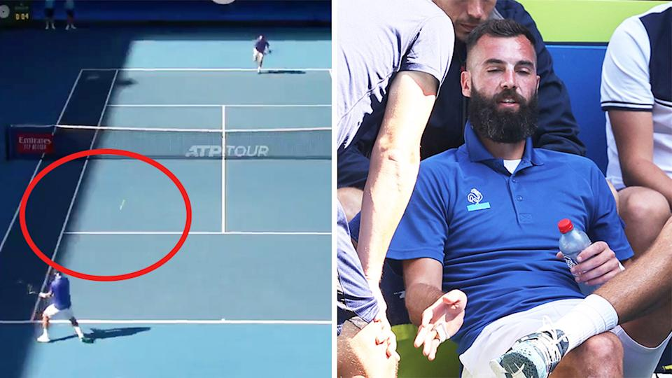 Benoit Paire (pictured right) talking to his coach and (pictured left) serving a double fault.