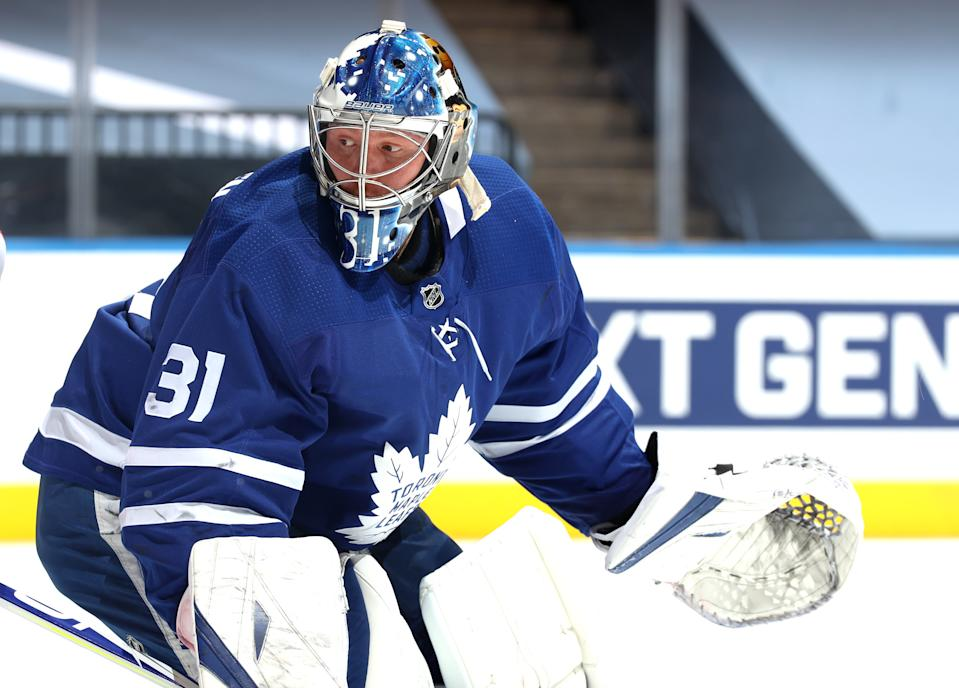 Goaltender Frederik Andersen #31 of the Toronto Maple Leafs