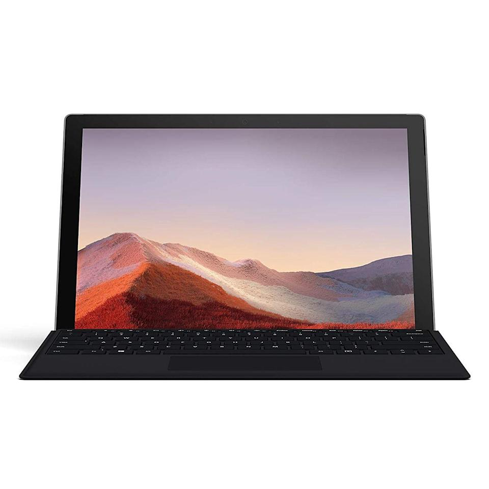 """<p><strong>Microsoft</strong></p><p>amazon.com</p><p><strong>$799.99</strong></p><p><a href=""""https://www.amazon.com/dp/B07YNJGMH6?tag=syn-yahoo-20&ascsubtag=%5Bartid%7C2089.g.2681%5Bsrc%7Cyahoo-us"""" rel=""""nofollow noopener"""" target=""""_blank"""" data-ylk=""""slk:Shop Now"""" class=""""link rapid-noclick-resp"""">Shop Now</a></p><p><strong>Key Specs</strong></p><p><strong>•</strong> <strong>CPU:</strong> 10th-generation Intel Core i5<br><strong>•</strong> <strong>Display:</strong> 12.3-inch PixelSense touchscreen (2,736 by 1,824 pixels)<br><strong>•</strong> <strong>Memory:</strong> 8GB of RAM, 128GB SSD<br><strong>•</strong><strong>Battery Life:</strong> Up to 10.5 hours</p><p>The Microsoft Surface Pro 7 is the best 2-in-1 PC for college students. It's beautifully designed and crafted, powerful, and incredibly versatile. It can instantly transform from a tablet to a laptop via a <a href=""""https://www.amazon.com/dp/B073W4MPJF?tag=syn-yahoo-20&ascsubtag=%5Bartid%7C2089.g.2681%5Bsrc%7Cyahoo-us"""" rel=""""nofollow noopener"""" target=""""_blank"""" data-ylk=""""slk:Type Cover"""" class=""""link rapid-noclick-resp"""">Type Cover</a> (the accessory is bundled in this case). Of course, like all Surface products, the Pro 7 is also compatible with the <a href=""""https://www.amazon.com/dp/B07SHVG7C7?tag=syn-yahoo-20&ascsubtag=%5Bartid%7C2089.g.2681%5Bsrc%7Cyahoo-us"""" rel=""""nofollow noopener"""" target=""""_blank"""" data-ylk=""""slk:Surface Pen"""" class=""""link rapid-noclick-resp"""">Surface Pen</a> stylus.</p><p>With a Full HD front- and rear-facing cameras, the Pro 7 is also a great tool for video conferencing. Microsoft offers the tablet in <a href=""""https://www.amazon.com/dp/B07ZF69HXV?tag=syn-yahoo-20&ascsubtag=%5Bartid%7C2089.g.2681%5Bsrc%7Cyahoo-us"""" rel=""""nofollow noopener"""" target=""""_blank"""" data-ylk=""""slk:a host of hardware configurations"""" class=""""link rapid-noclick-resp"""">a host of hardware configurations</a>, ensuring that buyers can find one that fits in their budget. The slate is available in platinum or matte black. </p><p><strong>More: <"""