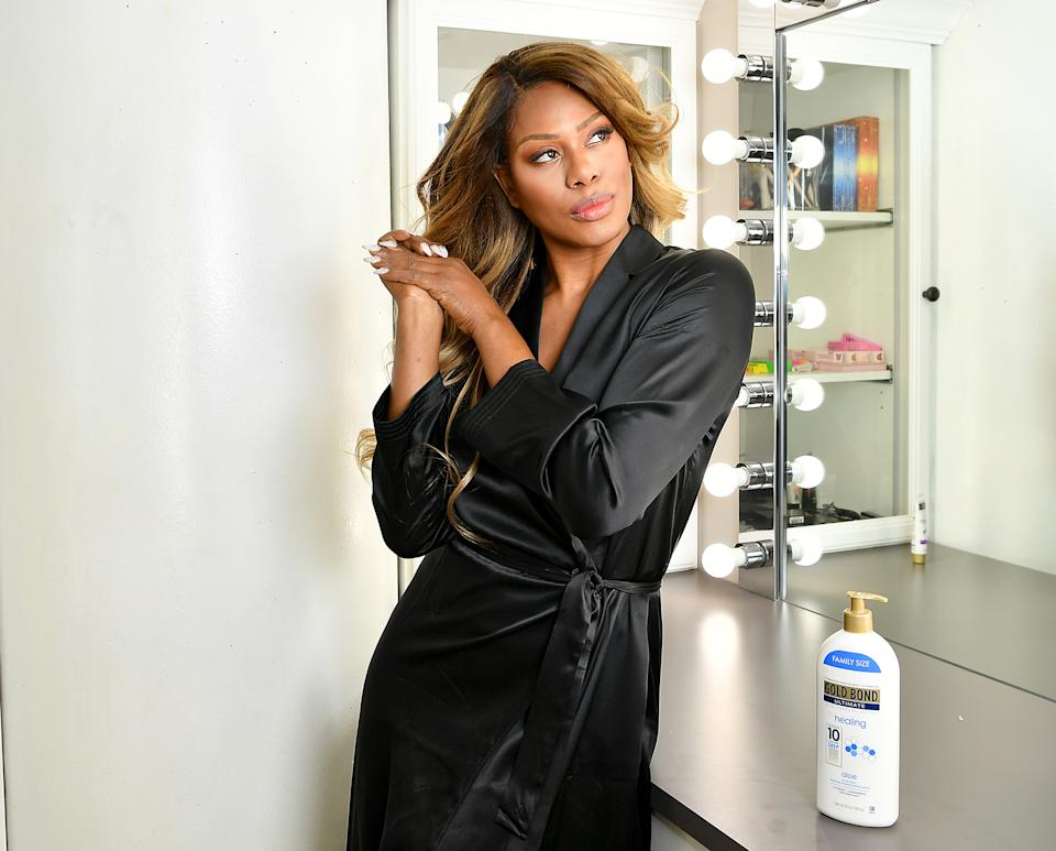 LOS ANGELES, CALIFORNIA - SEPTEMBER 17: Actress Laverne Cox kicks off awards weekend at home in Los Angeles with Gold Bond Ultimate® Healing Lotion and the #ChampionYourSkin campaign, celebrating others like her who put their skin to the test to create a better world on September 17, 2020 in Los Angeles, California on September 17, 2020 in Los Angeles, California. (Photo by Amy Sussman/Getty Images for Gold Bond)