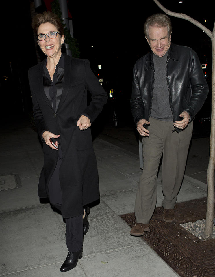 Annette Bening and her husband, actor Warren Beatty were seen arriving at David Geffen's private party at Spargo's Restaurant in Beverly Hills, CA.