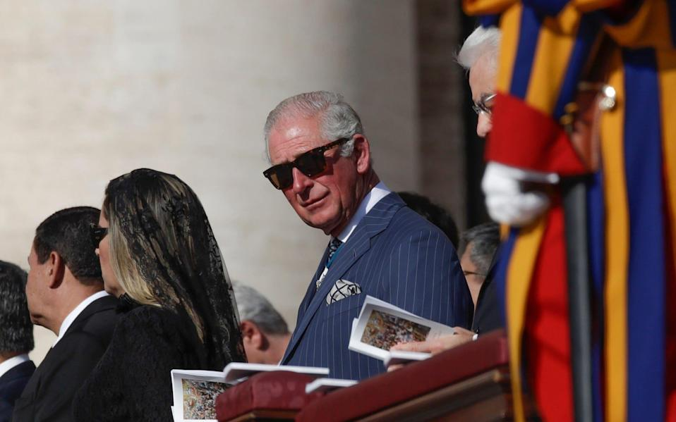 Prince Charles attends the canonisation Mass in St. Peter's Square at the Vatican - AP