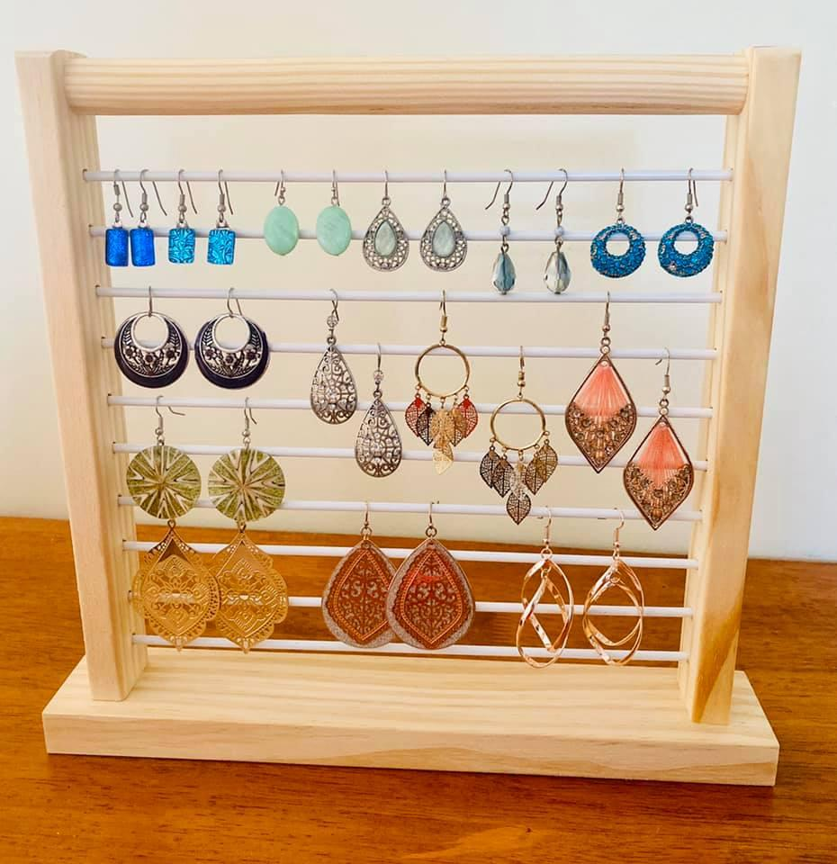Kmart abacus used as earring stand