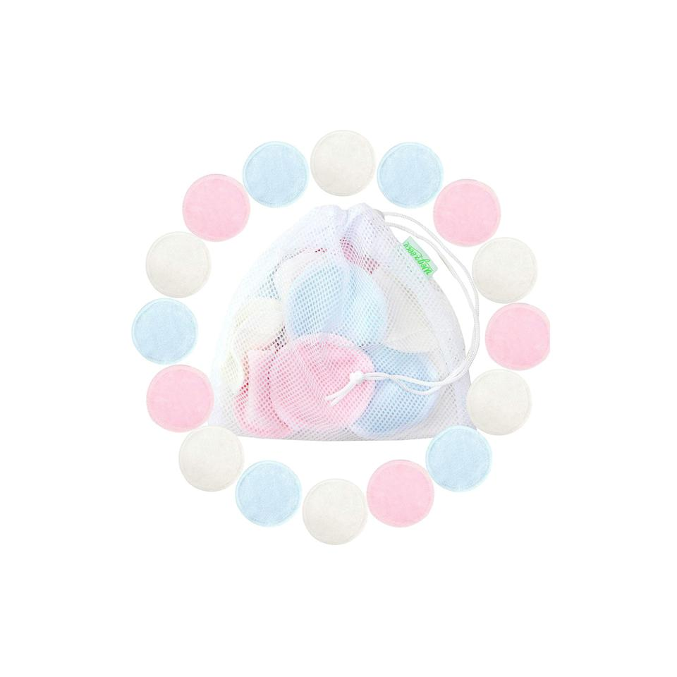 """<h3>Wegreeco Reusable Bamboo Cotton Pads</h3><br><strong>Jessica</strong><br><br>""""I was looking for reusable pads that I could swap out my cotton rounds with (I'm very picky about cotton rounds — the ones I got from the drugstore always left random strands of cotton on my face!) So I googled and found these. At first, I ended up with ones that were nursing pads, but these are smaller and softer, IMO. I use these every day — sometimes two! They're great for taking off makeup with makeup remover, a quick cleanse with micellar water, or applying toner. I just toss them in a delicates bag and wash them with the rest of my laundry.""""<br><br><strong>Wegreeco</strong> Reusable Bamboo Makeup Remover Pads, $, available at <a href=""""https://amzn.to/2p1AeC8"""" rel=""""nofollow noopener"""" target=""""_blank"""" data-ylk=""""slk:Amazon"""" class=""""link rapid-noclick-resp"""">Amazon</a>"""
