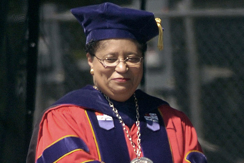 FILE - In this May 21, 2005, file photo, Rensselaer Polytechnic Institute President Shirley Ann Jackson smiles during commencement in Troy, N.Y. An annual study released Tuesday, Jan. 14, 2020, by The Chronicle of Higher Education, finds that average pay for private university chiefs grew by 10.5% in 2017. Jackson's earnings were listed at $5.2 million. (AP Photo/Tim Roske, File)