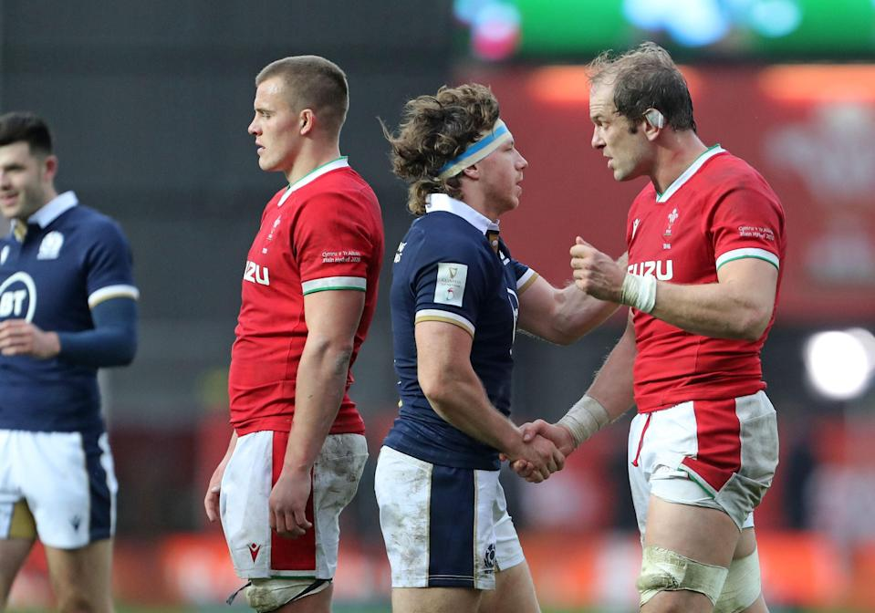 Hamish Watson congratulates Alun Wyn Jones on his Test record after Scotland's win over Wales (Getty)