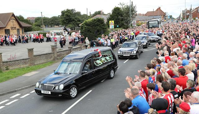 <p>The funeral cortege leaves St Joseph's Church in Blackhall, County Durham following the funeral of Bradley Lowery </p>