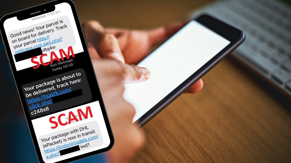 Image of someone on mobile phone with screenshot of Flubot scam