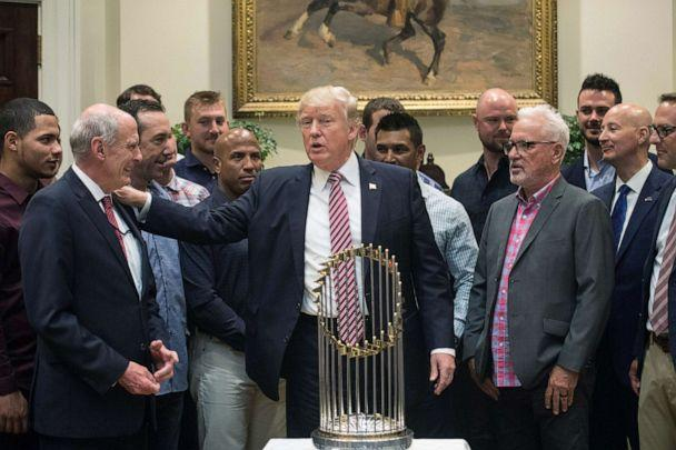 PHOTO:President Donald Trump speaks with Director of National Intelligence Dan Coats as he meets with members of the Chicago Cubs baseball team in the Roosevelt Room at the White House, June 28, 2017. (Nicholas Kamm/AFP/Getty Images)