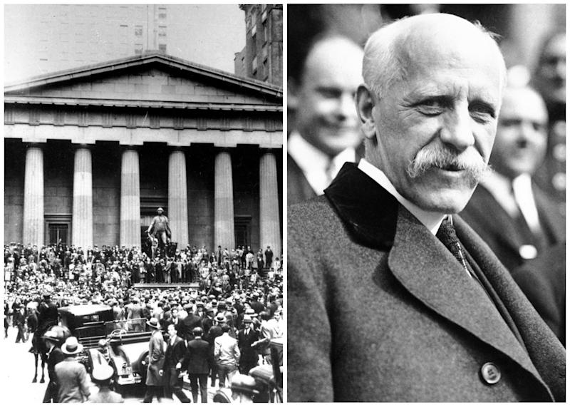 This combination of Associated Press file photos shows from left, crowds panicking in Manhattan's financial district on Oct. 24, 1929, in New York, and right, Dr. Fridtjof Nansen on Oct. 28, 1929. On Monday, Oct. 28, 1929, the Dow lost nearly 13 percent, starting the Great Depression. On the same day, the International Society for the Exploration of the Arctic Regions by Means of Aircraft announced plans for a spring exploration to be led by Norwegian explorer Fridtjof Nansen. (AP Photo/File)