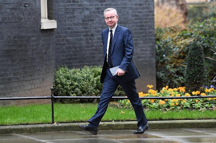 "<span class=""caption"">A smiling Michael Gove arrives at Downing Street to discover his fate.</span> <span class=""attribution""><a class=""link rapid-noclick-resp"" href=""https://www.paimages.co.uk/search-results/fluid/?q=cabinet%20reshuffle&amber_border=0&category=A,S,E&fields_0=all&fields_1=all&green_border=1&imagesonly=1&orientation=both&red_border=0&text=cabinet%20reshuffle&words_0=all&words_1=all"" rel=""nofollow noopener"" target=""_blank"" data-ylk=""slk:Stefan Rousseau/PA Wire/PA Images"">Stefan Rousseau/PA Wire/PA Images</a></span>"