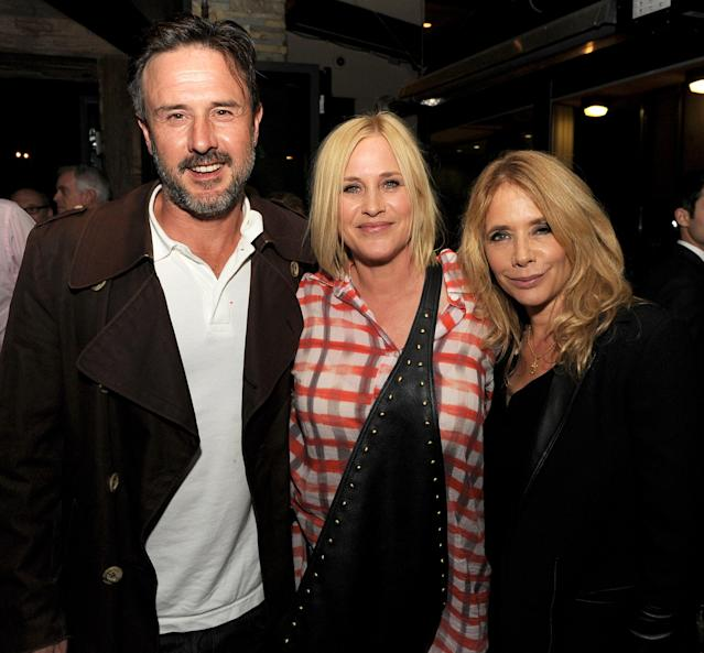 David Arquette, with sisters Patricia Arquette, center, and Rosanna Arquette, at a screening of <em>Boyhood</em> in L.A. on July 20, 2014. (Photo: Kevin Winter/Getty Images)
