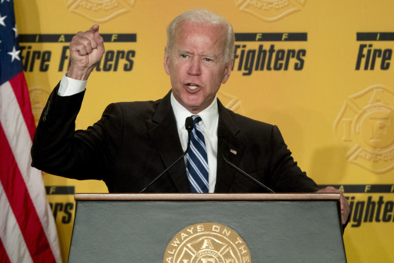 "FILE - In this March 12, 2019, file photo, former Vice President Joe Biden speaks to the International Association of Firefighters at the Hyatt Regency on Capitol Hill in Washington. Biden says he does not recall kissing a Nevada political candidate on the back of her head in 2014. The allegation was made in a New York Magazine article written by Lucy Flores, a former Nevada state representative and the 2014 Democratic nominee for Nevada lieutenant governor. Flores says Biden's behavior ""made me feel uneasy, gross, and confused.""(AP Photo/Andrew Harnik, File)"
