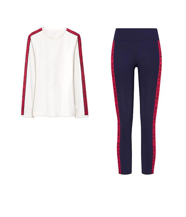 "<p>Banner Long Sleeve Top, $138, available on Dec. 28 on <a href=""https://www.torysport.com/"" rel=""nofollow noopener"" target=""_blank"" data-ylk=""slk:torysport.com"" class=""link rapid-noclick-resp"">torysport.com</a><br>Banner Leggings, $148, available on Dec. 28 on <a href=""https://www.torysport.com/"" rel=""nofollow noopener"" target=""_blank"" data-ylk=""slk:torysport.com"" class=""link rapid-noclick-resp"">torysport.com</a> </p>"