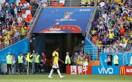 Soccer Football - World Cup - Group H - Colombia vs Japan - Mordovia Arena, Saransk, Russia - June 19, 2018 Colombia's Carlos Sanchez walks off after being shown a red card by referee Damir Skomina after handling the ball in the penalty area REUTERS/Darren Staples