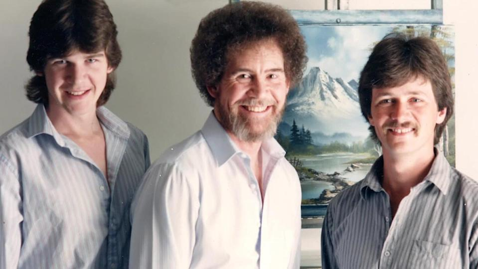 BOB ROSS HAPPY ACCIDENTS; BETRAYAL & GREED. (L TO R) STEVE ROSS, BOB ROSS and DANA JESTER
