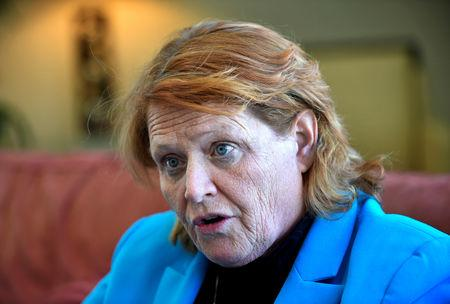 FILE PHOTO: Senator Heidi Heitkamp (D-ND) discusses farm policy with a reporter at Jamestown College, Jamestown, North Dakota, U.S. April 6, 2018. Picture taken April 6, 2018. REUTERS/Dan Koeck/File Photo