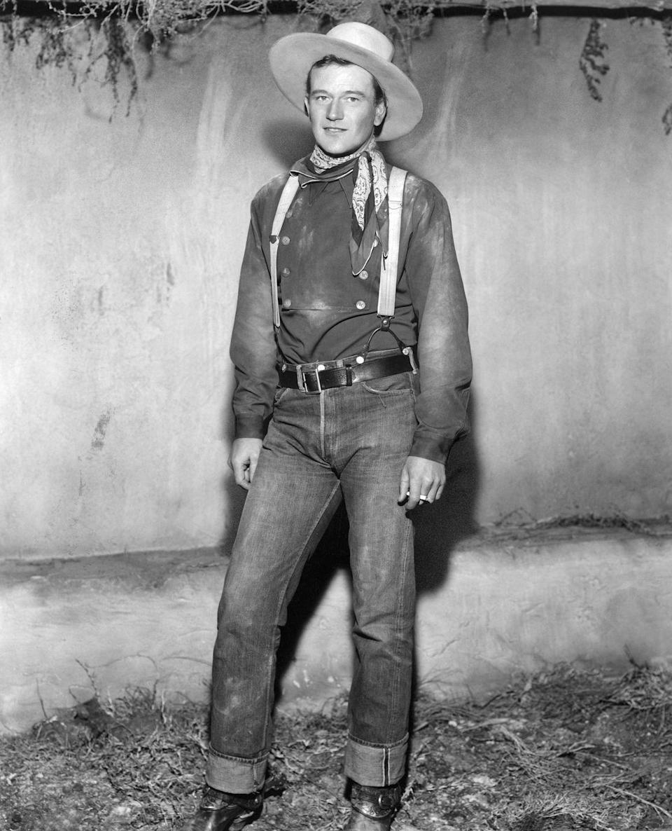 <p>By the time John Wayne got into Westerns, jeans were a major part of the cowboy getup. Who can forget the iconic actor's look in his famous film, <em>Stagecoach</em>? </p>