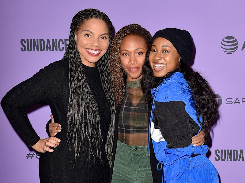 Channing Godfrey Peoples and her stars Nicole Beharie and Alexis Chikaeze at the Sundance Film Festival in JanuaryGetty