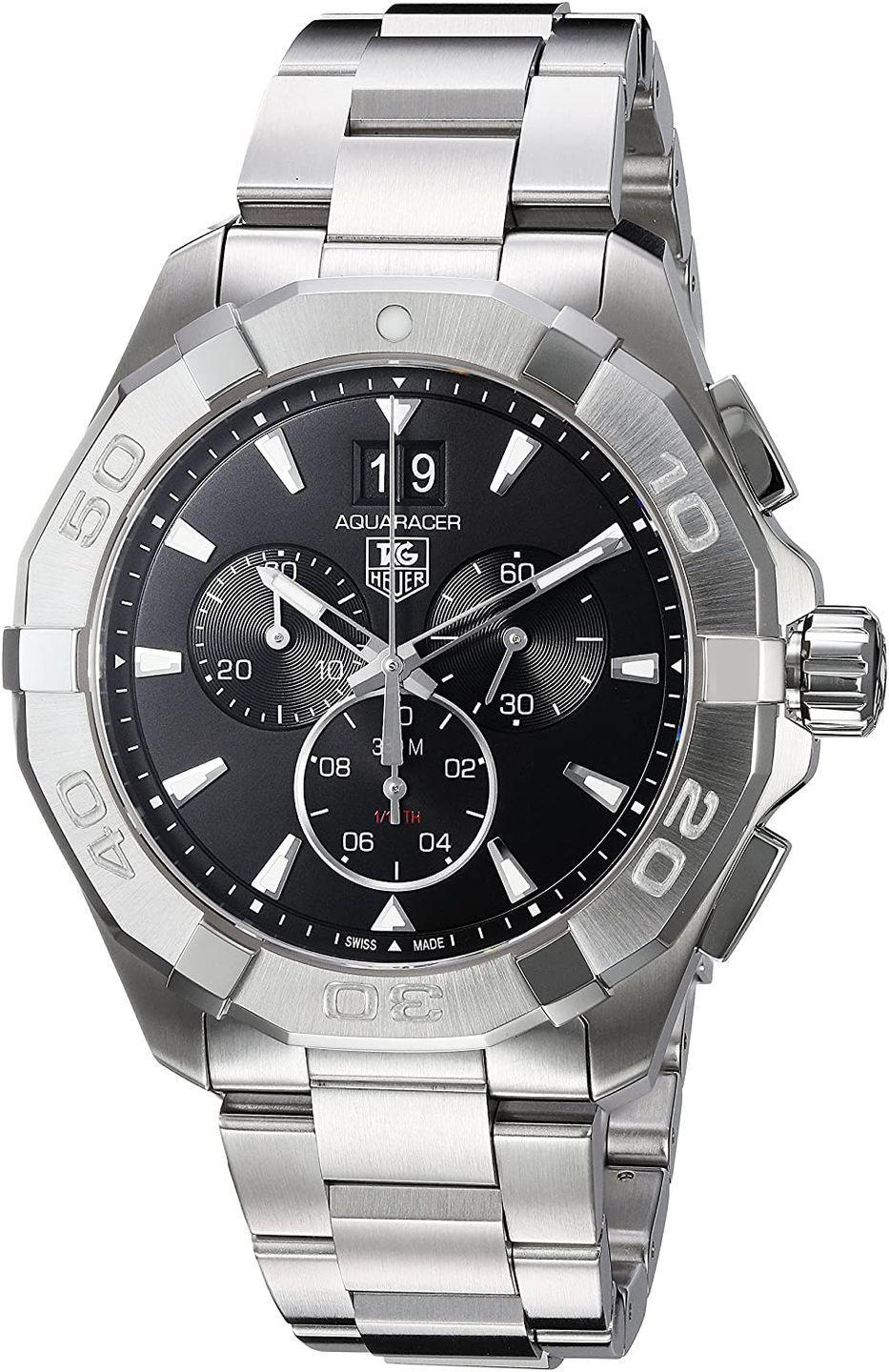 """<p>Chronograph 43mm</p><p><a class=""""link rapid-noclick-resp"""" href=""""https://www.amazon.co.uk/TAG-Heuer-CAY1110-BA0927/dp/B019RAGAVG?tag=hearstuk-yahoo-21&ascsubtag=%5Bartid%7C1930.g.34617551%5Bsrc%7Cyahoo-uk"""" rel=""""nofollow noopener"""" target=""""_blank"""" data-ylk=""""slk:SHOP"""">SHOP</a></p><p>As with most <a href=""""http://www.esquire.com/uk/style/watches/g32127494/best-dive-watches/"""" rel=""""nofollow noopener"""" target=""""_blank"""" data-ylk=""""slk:diving watches"""" class=""""link rapid-noclick-resp"""">diving watches</a>, the Aquaracer's largest customer base is comprised of people with no intention of ever leaving dry land. Still, this tool watch remains a professional piece of kit, introduced in 2003 after its forerunner, the Aquagraph, had been tested by the Navy Seals. Its viability as a diving watch proved all the more impressive given it was a chronograph – ie: it had moving parts to go wrong. Setting the standard in design and appearance ever since.</p><p>£1,550; <a href=""""https://www.amazon.co.uk/TAG-Heuer-CAY1110-BA0927/dp/B019RAGAVG"""" rel=""""nofollow noopener"""" target=""""_blank"""" data-ylk=""""slk:amazon.co.uk"""" class=""""link rapid-noclick-resp"""">amazon.co.uk</a></p>"""