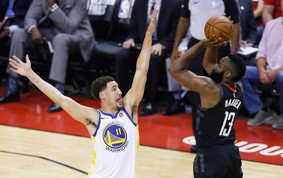 The Houston Rockets missed 27-straight 3-pointers on Monday night in their loss to the Golden State Warriors in Game 7 of the Western Conference Finals, setting a new NBA playoff record. (Getty Images)