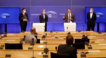 Members of European Parliament hold a news conference after the final debate on EU-UK trade deal