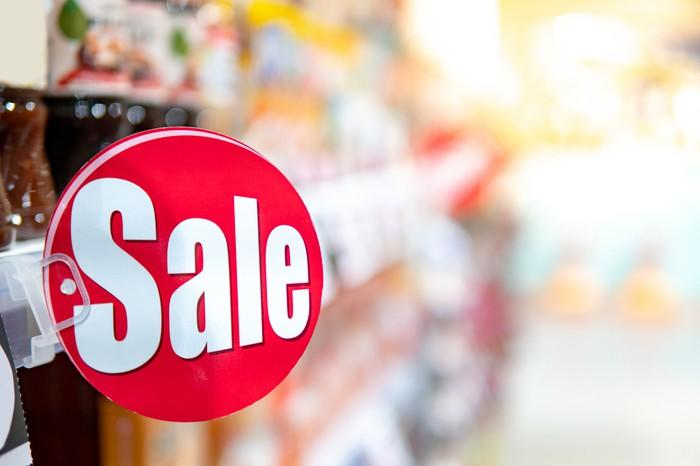 Sale sign in store display.