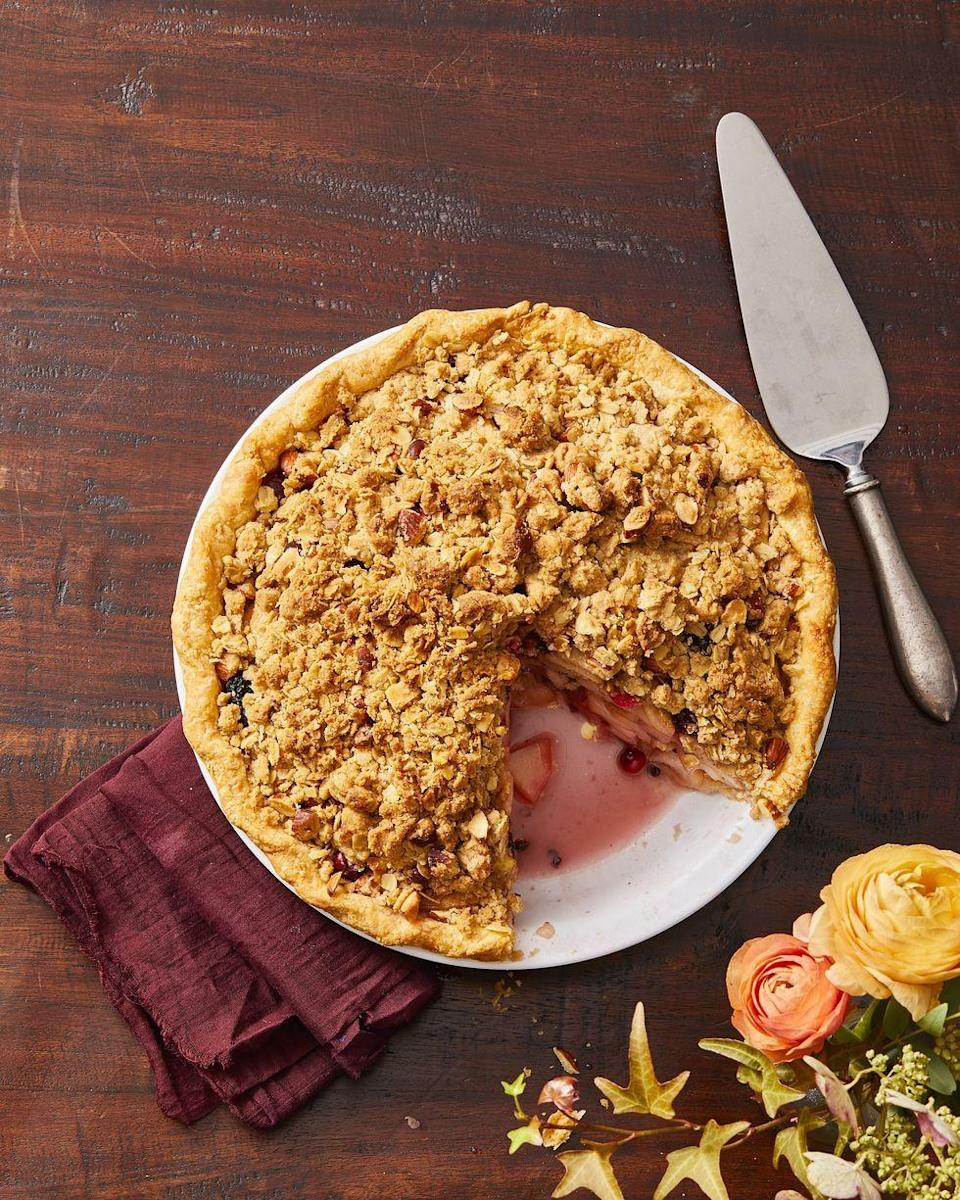 "<p>Oats and almonds, spiced with cinnamon and cloves, make the ultimate crust for any Thanksgiving pie.</p><p><em><a href=""https://www.goodhousekeeping.com/food-recipes/dessert/a29441206/pear-berry-crumb-pie-recipe/"" rel=""nofollow noopener"" target=""_blank"" data-ylk=""slk:Get the recipe for Pear and Berry Crumb Pie »"" class=""link rapid-noclick-resp"">Get the recipe for Pear and Berry Crumb Pie »</a></em></p><p><strong>RELATED: </strong><a href=""https://www.goodhousekeeping.com/food-recipes/dessert/g822/pie-recipes/"" rel=""nofollow noopener"" target=""_blank"" data-ylk=""slk:40+ Delicious Pie Recipes Anyone Can Make"" class=""link rapid-noclick-resp"">40+ Delicious Pie Recipes Anyone Can Make</a><br></p>"