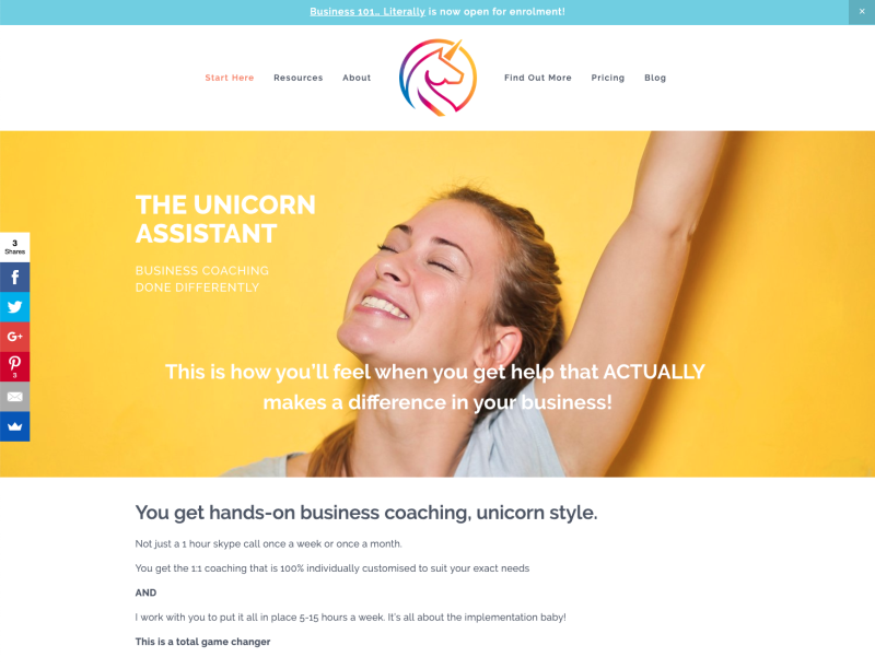 A screenshot of the home page of Sue McLachlan's business consultancy, The Unicorn Assist.