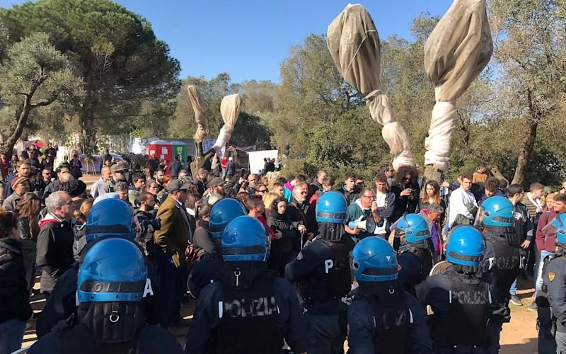 Protesters, including politicians and local mayors, are opposed to the uprooting of hundreds of olive trees along the route of the pipeline. - Credit: Splash