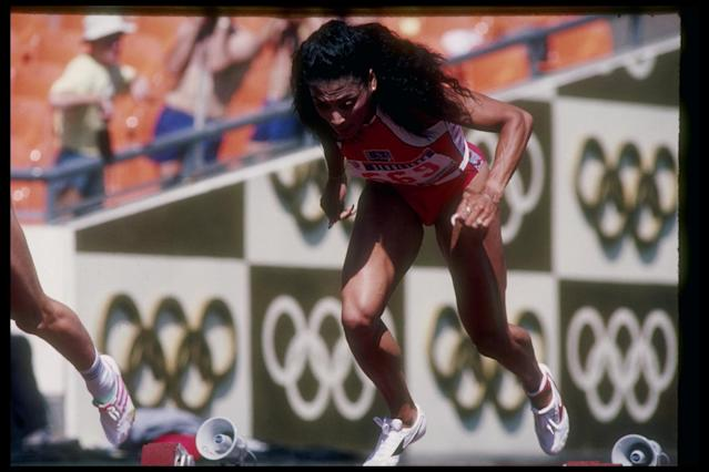 <p>American Griffith-Joyner, also known as Flo Jo, became a triple champion at the 1988 Seoul Olympics but may lose two records. </p>