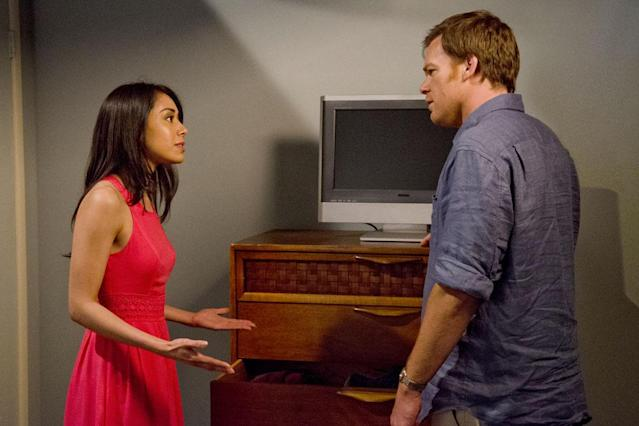 "Aimee Garcia as Jamie Batista and Michael C. Hall as Dexter Morgan in the ""Dexter"" Season 8 episode, ""This Little Piggy."""