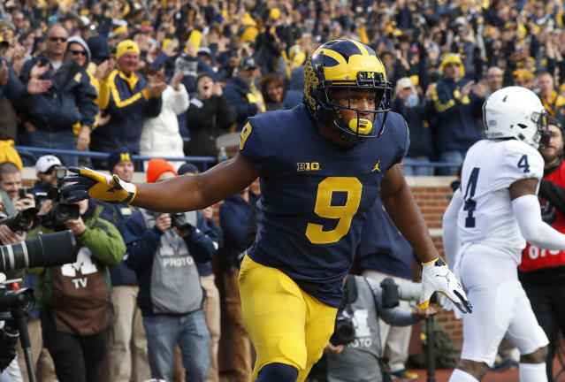 Michigan wide receiver Donovan Peoples-Jones could be one of the first Wolverines taken in the 2020 NFL draft. (AP Photo/Paul Sancya)