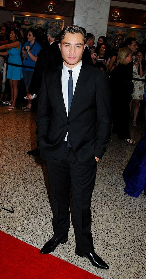 """After being forced to wear all those crazy colored suits on """"Gossip Girl,"""" Ed Westwick looked relieved to be in basic black tie. Janet Mayer/<a href=""""http://www.splashnewsonline.com"""" target=""""new"""">Splash News</a> - May 9, 2009"""