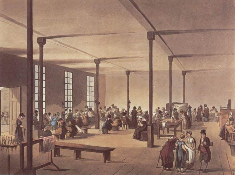 A painting of a work room in a workhouse