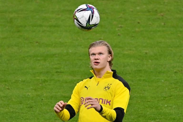 Dortmund star striker Erling Braut Haaland in Wednesday's final training session at Berlin's Olympic Stadium on the eve of the German Cup final