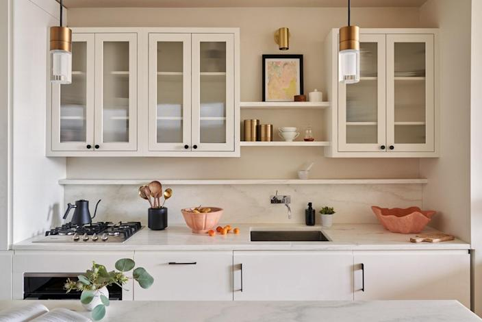 """""""Sourcing local for materials is something I strive for in every design,"""" Marissa Bero says. The Danby marble used throughout the kitchen is from the Danby marble quarry in Vermont, as opposed to other white marbles, like Carrara or Calacatta from Italy. Photo by Seth Caplan"""