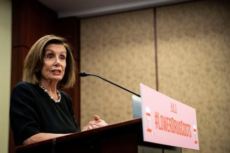 FILE PHOTO: U.S. House Speaker Nancy Pelosi (D-CA) speaks during a news conference on lowering drug costs
