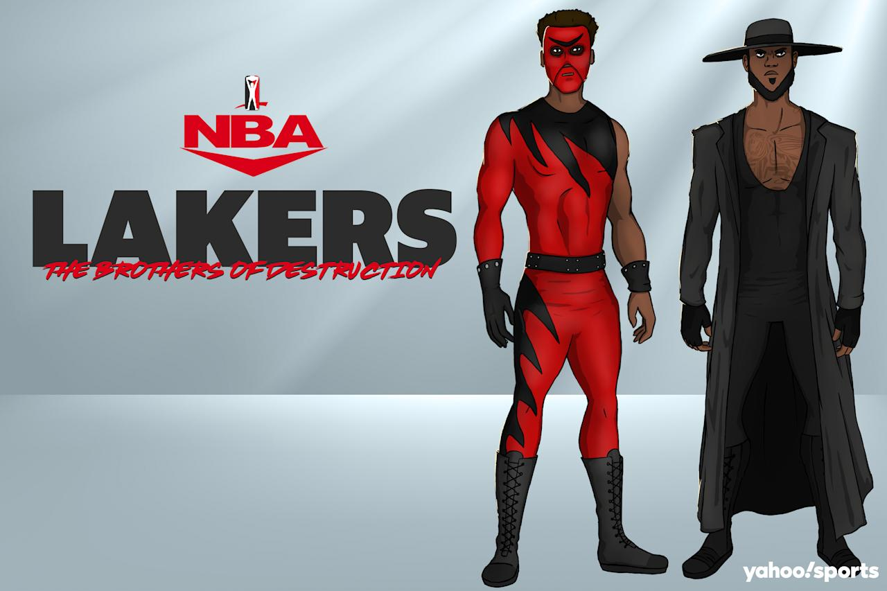 Anthony Davis as Kane and LeBron James as The Undertaker