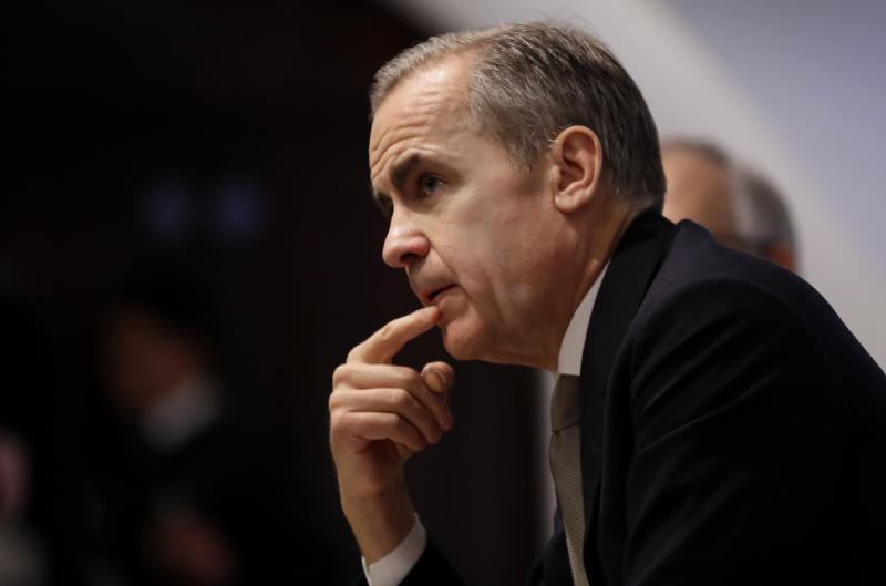 Mark Carney, Governor of the Bank of England, during the Bank of England's financial stability report at the Bank of England in the City of London.