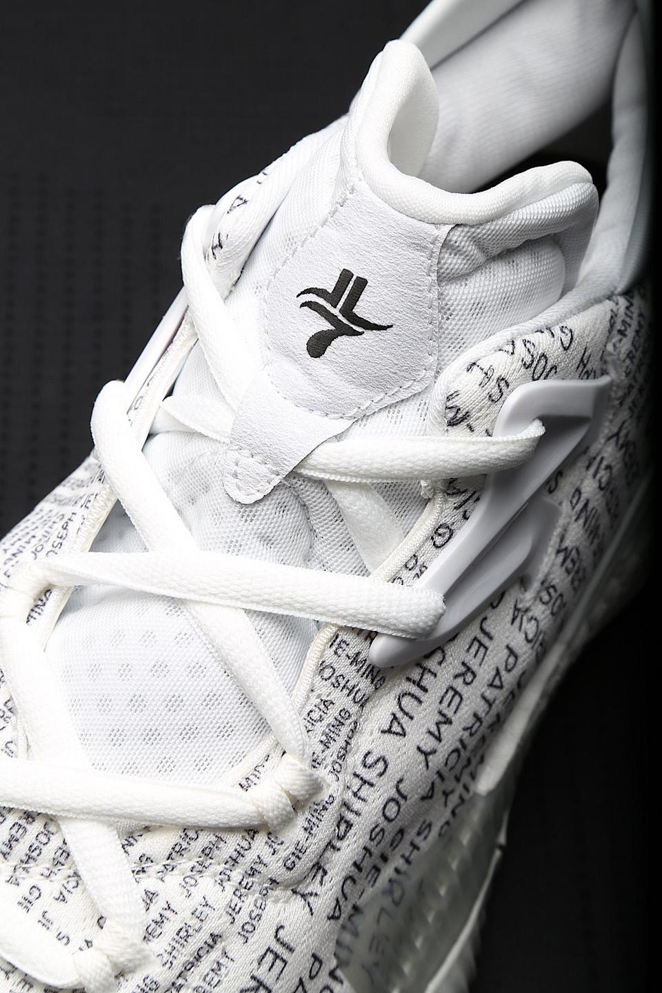 The top of Lin's Crazylight Boosts, with his logo on the tongue. (Nick DePaula/The Vertical)