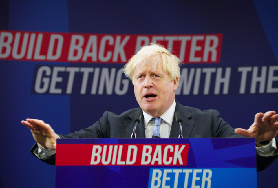 Boris Johnson has given his first in-person speech at Tory conference since winning the 2019 general election. (PA)