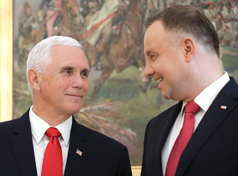 Vice President Mike Pence and Polish President Andrzej Duda meet at the Presidential Palace in Warsaw, Poland, on Monday, Sept. 2, 2019. (